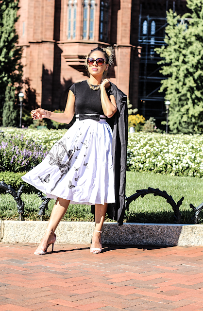 eShakti Black and White Riley midi Dress