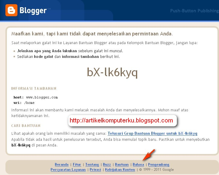 sign in error blogger