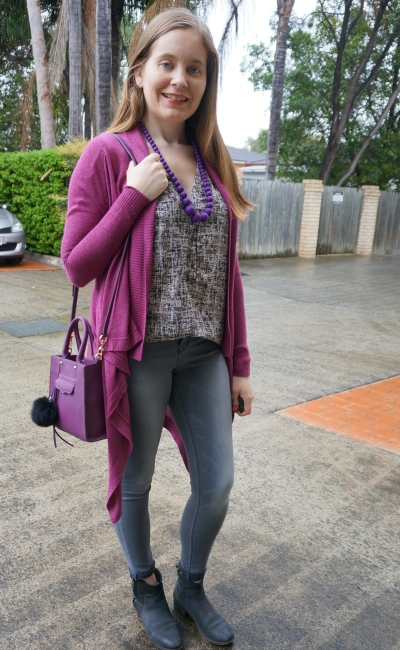 purple cardigan, printed sleeveless tank, Jeanswest grey cecile skinny jeans cuffed ankle boots | awayfromblue