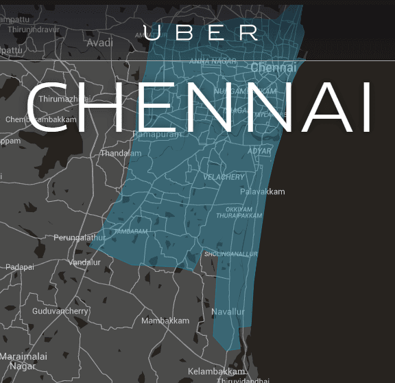 Uber Chennai india asia pacific region coverage