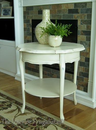 French Provincial Round Side Table with Vanilla Frosting Chalk Paint