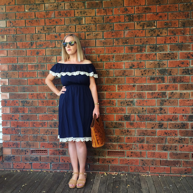 Crossroads off-the shoulder dress | Beth at Almost Posh