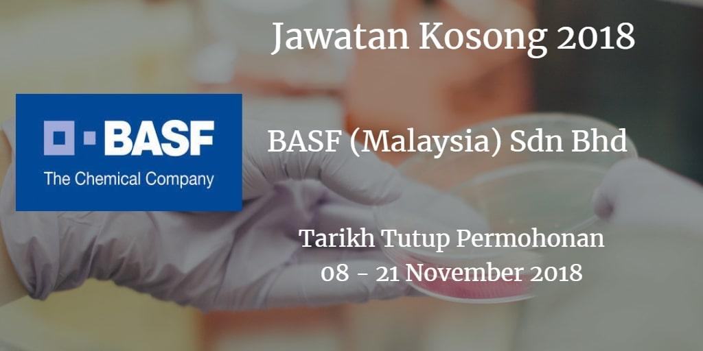 Jawatan Kosong BASF (Malaysia) Sdn Bhd 08- 21 November 2018