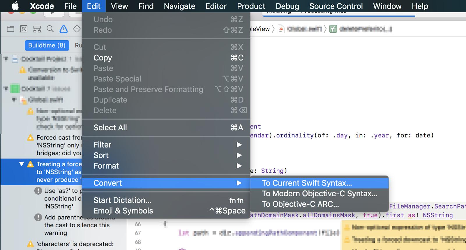 Come convertire un progetto da Swift 2 a 3