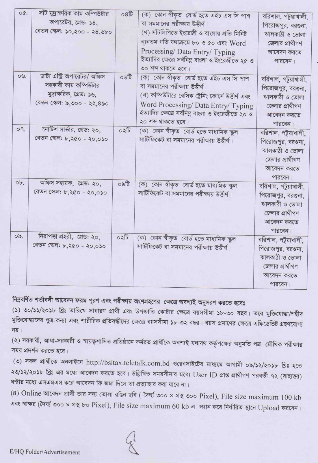 Tax Commissioner, Barisal Job Circular 2018