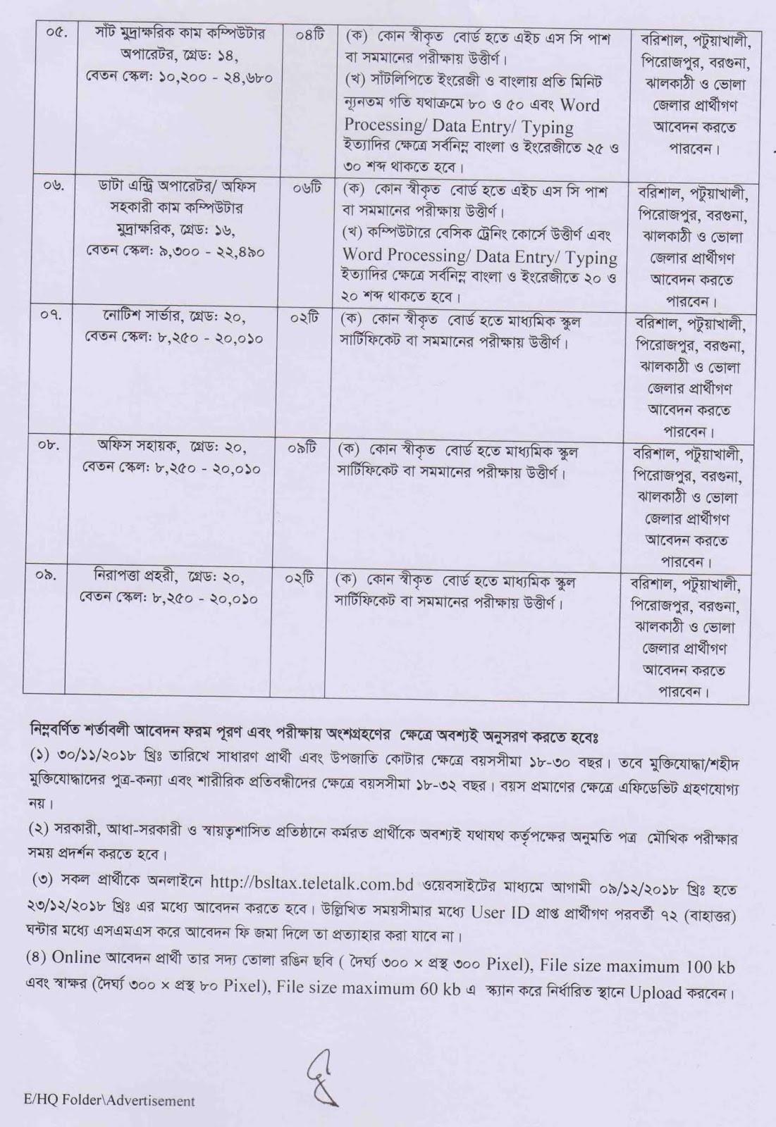 Tax Commissioner, Barisal Job Circular 2018