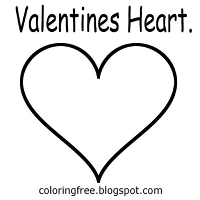 Straightforward clipart outline Valentines heart template printable art image with words for drawing