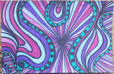 A pen and ink doodle meditation in turquoise and purples and a blurb about not eating rodents raw.