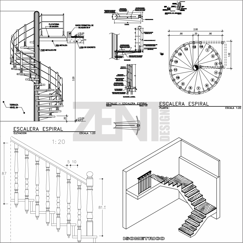 Escaleras de madera planos wooden stairs zent design 2d for Escaleras 3d max