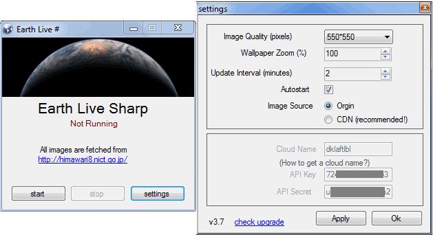 Earth Live Sharp impostazioni sfondo desktop animato