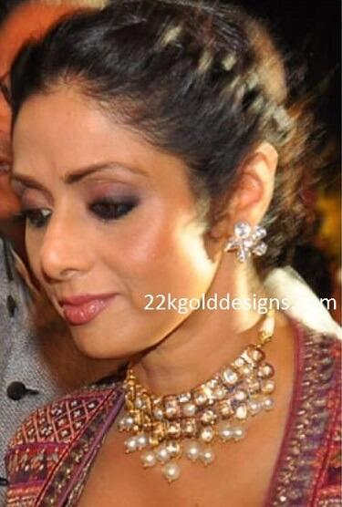 Sridevi Kapoor in Polki Pearl Necklace