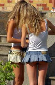 College girl in short skirt