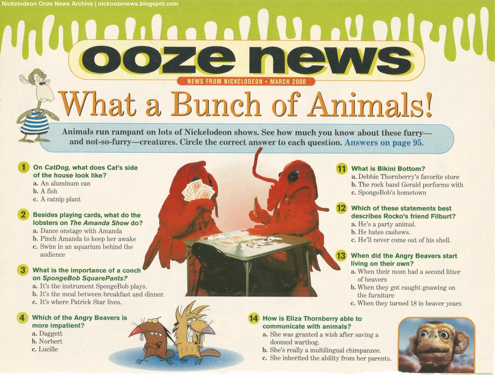 Nickelodeon Ooze News Archive What A Bunch Of Animals Ooze News