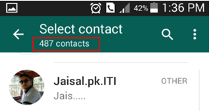 Total number of whatsapp contacts on whatsapp