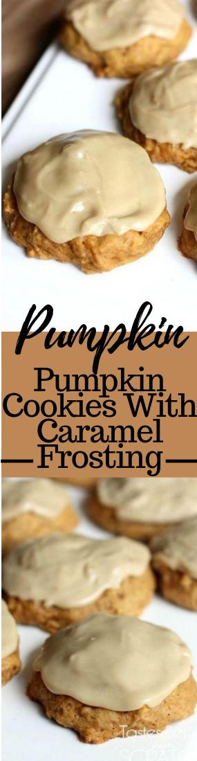 PUMPKIN COOKIES WITH CARAMEL FROSTING #dessert