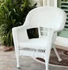 Jeco W00206-C-2 White Wicker Chair - Set 2