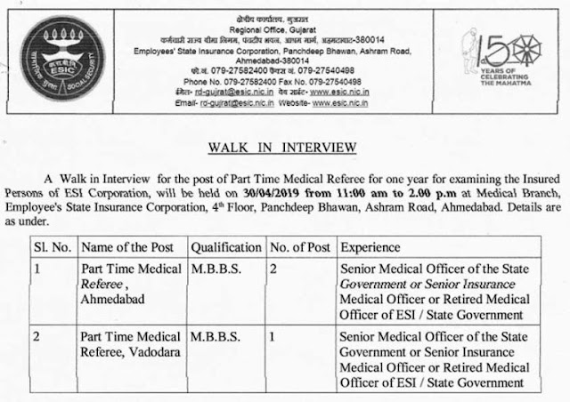 ESIC Gujarat Medical referee Recruitment 2019