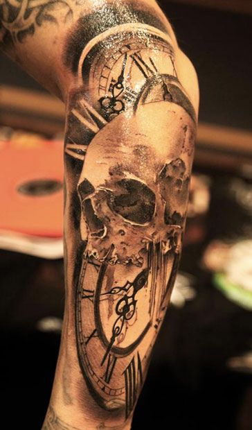 Cock & Skull Forearm Tattoos For Men