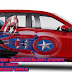 Mobil, Toyota, calya, kapten america, deadpool, Digital print, Cutting Sticker Bekasi,