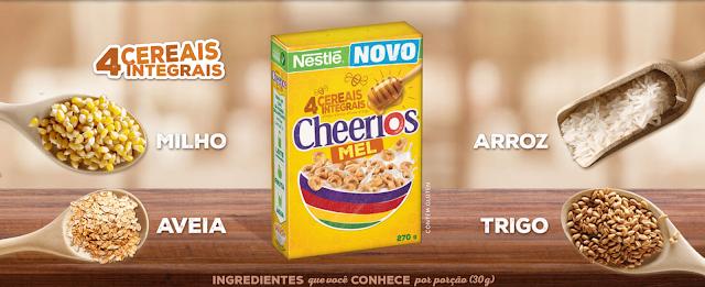 Cheerios,café da manhã,Nestlé,alimentação saudável,cereais integrais,sabor Mel,cereal para toda família