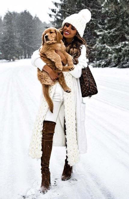 winter outfit inspiration / brown over knee boots + knit scarf + hat + bag + skinnies + sweater