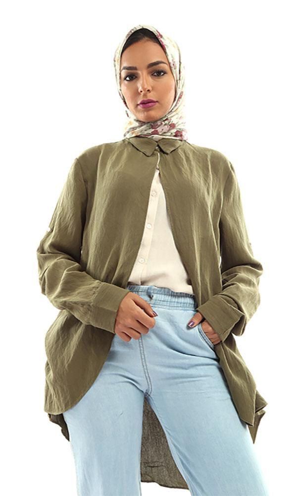 Women Long Sleeve Shirt – Olive