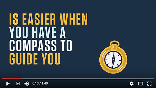 snapshot from RioCompass video.  Text: Is easier when you have a compass to guide you.