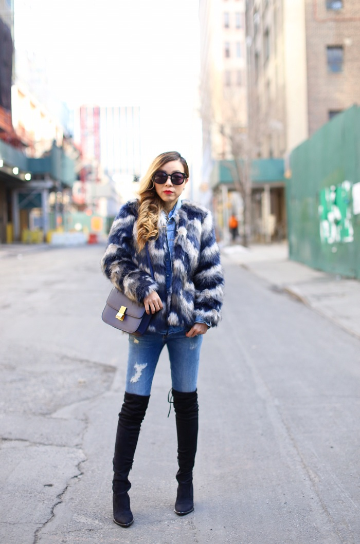 Chicwish faux fur jacket, denim jacket, chambray shirt, AG jeans, steve madden gorgeous over the knee boots, karen walker super duper sunglasses, Celine classic box bag, triple denim look, nyc street style, new york fashion week street style