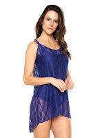 Moda íntima Vestido Beautty Curto Renda Azul