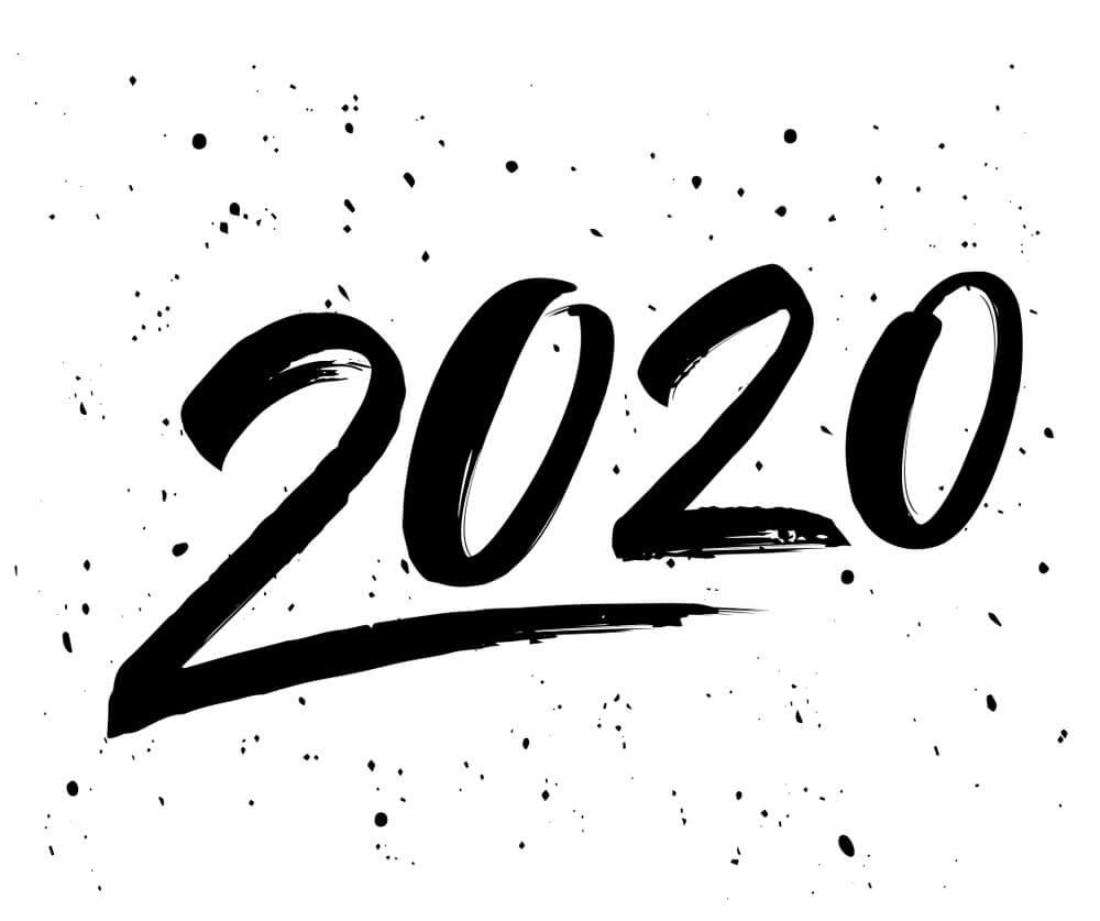 Happy New Year Simpe Black White Wallpaper 2020