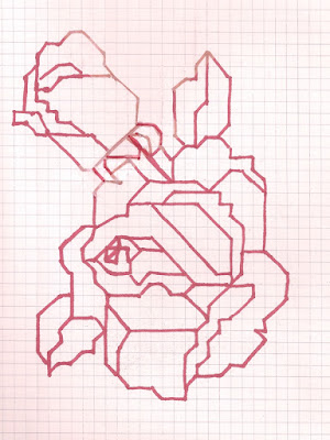Square-off rose design for cross-stitch or needlepont