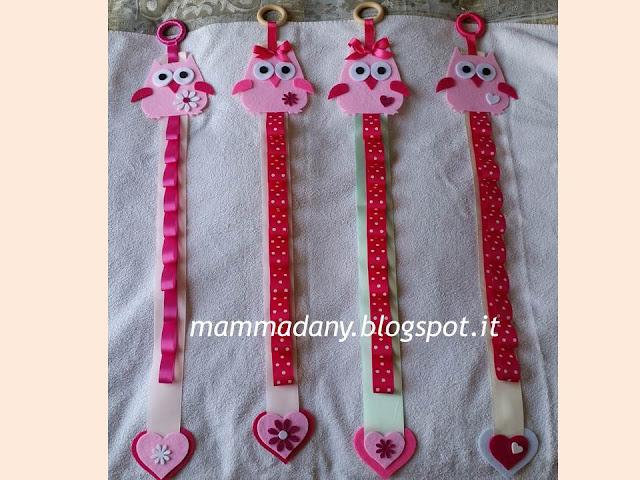 porta cerchietti gufetto bambina in feltro e raso rosa