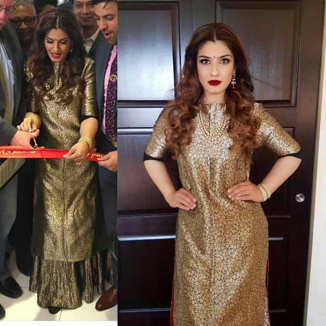 Raveena Tandon Wearing Raw Mango at PNG Jewellers Store Launch in New Jersey