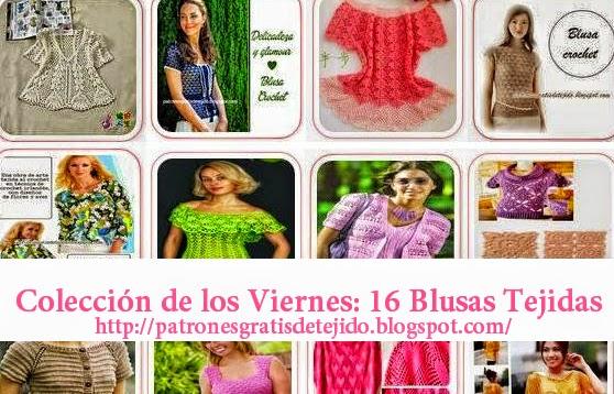 16 diagramas de blusas tejidas