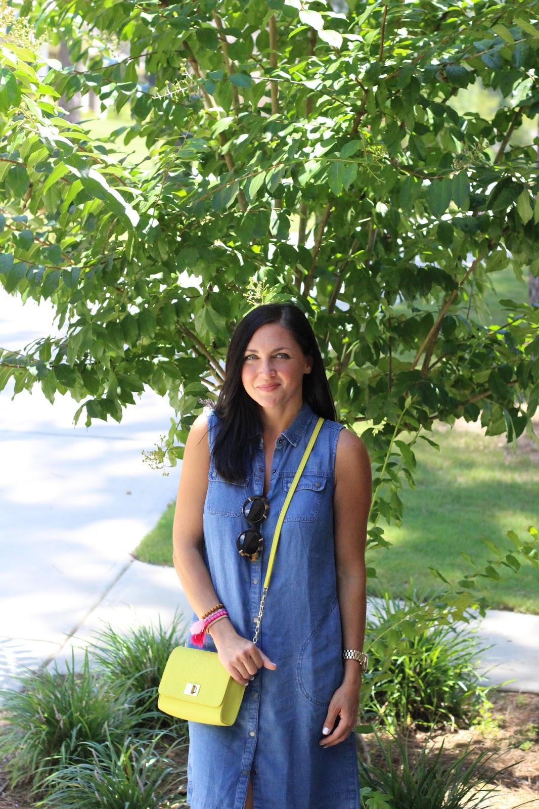 J Jill Style, denim dress, neon, tassel bracelets, karen walker flowerpatch, Stilettos and Diapers