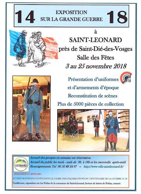 SAINT-LEONARD (88) - Exposition sur la Grande Guerre (3 au 25 nov. 2018)