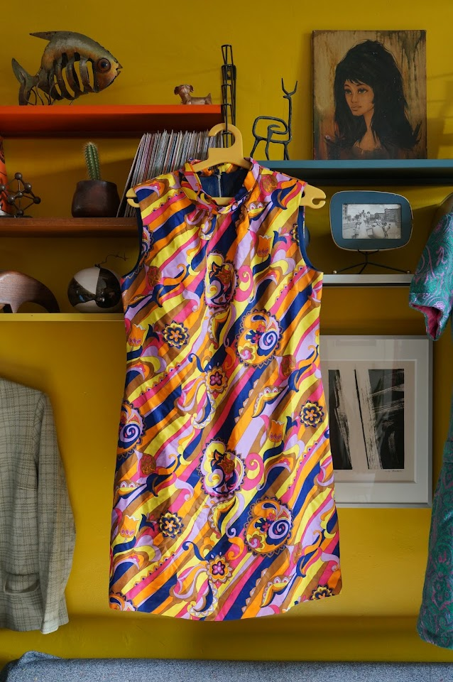 robe vintage dress années 70 abstract fabric psychedelic