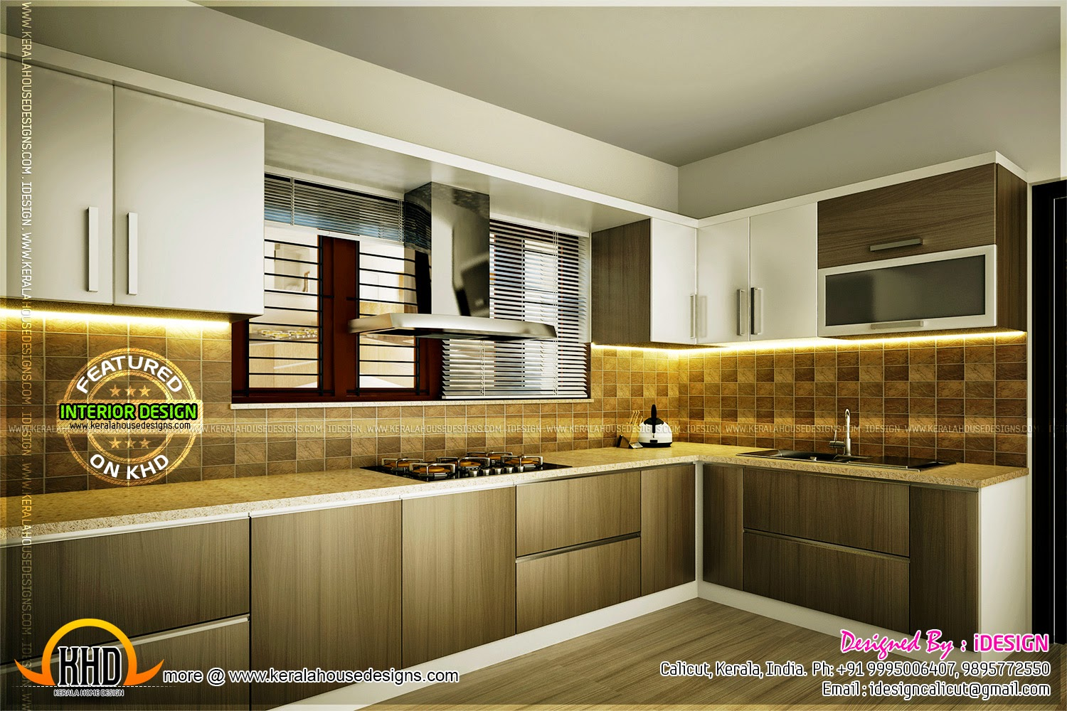 Kitchen master bedroom living interiors home kerala plans - Masters in interior design online ...