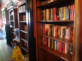 books for sale at Mia Cuppa Caffe, Fresno, California
