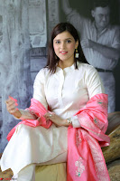 Mannara Chopra in Silky White Salwar Suit with Pink Chunni Latest Exclusive Pics March 2017 ~  011.JPG