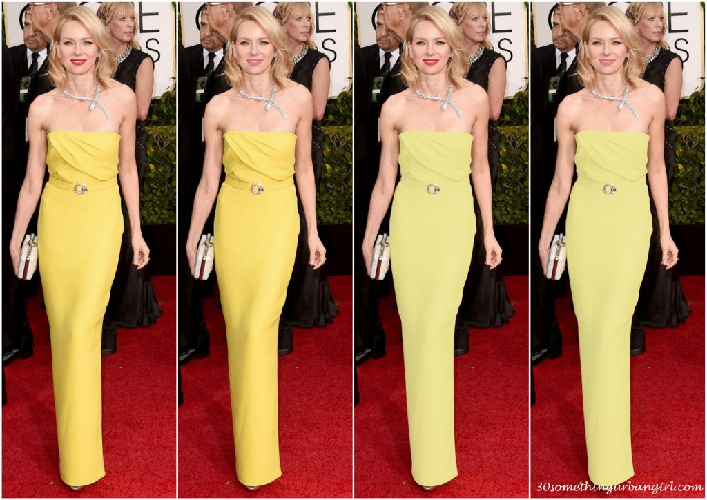 Naomi Watt's Golden Globe 2015 Gucci dress in different colors