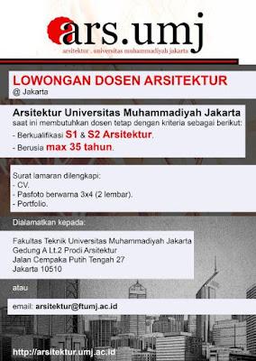 Lowongan Kerja Dosen Terbaru 2021 Universitas Arsitektur Muhammadiyah Jakarta Lowongan Dosen