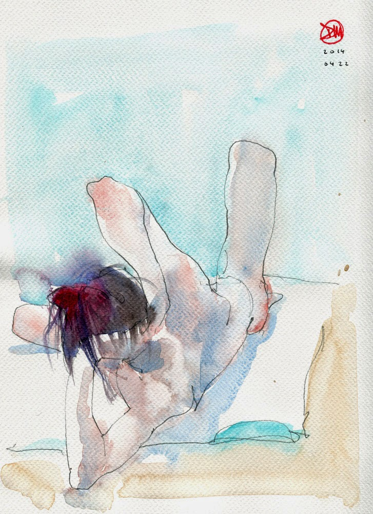 Watercolour male nude by David Meldrum