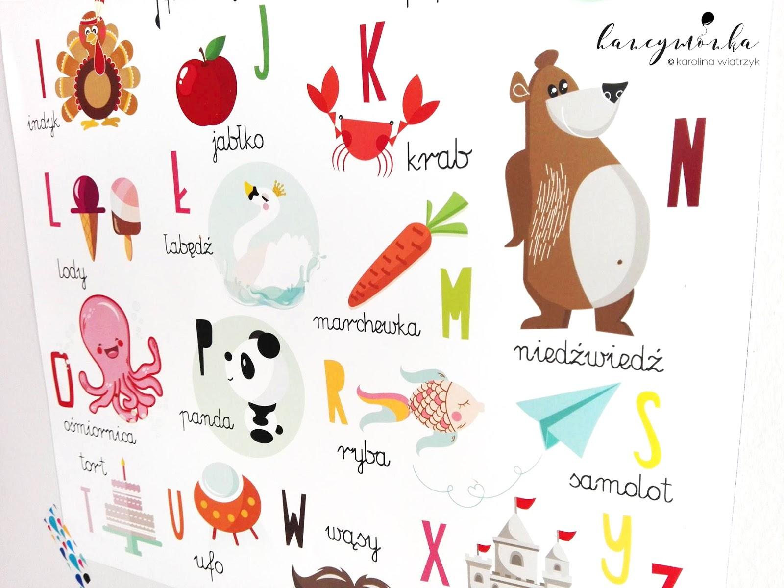 plakaty, plakat, plakat edukacyjny, alfabet, abecadło, poster, alphabet, nauka przez zabawę, uczmy bawiąc, hancymonka, karolina wiatrzyk, grafika, projekt, walldecor, dekoracja, home decor, dla dzieci, design, design for kids