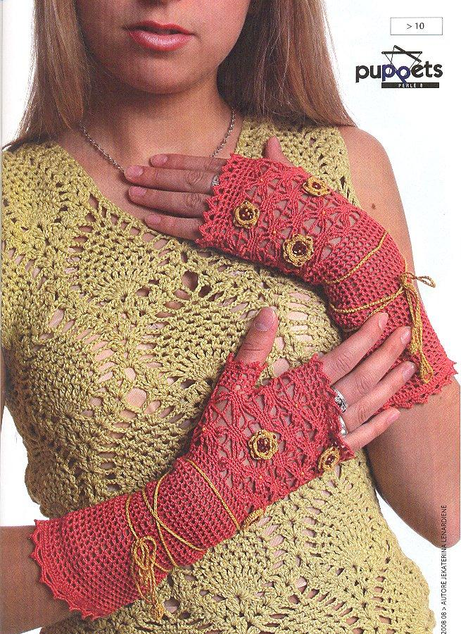 Guantes sin Dedos de Crochet con Dibujos