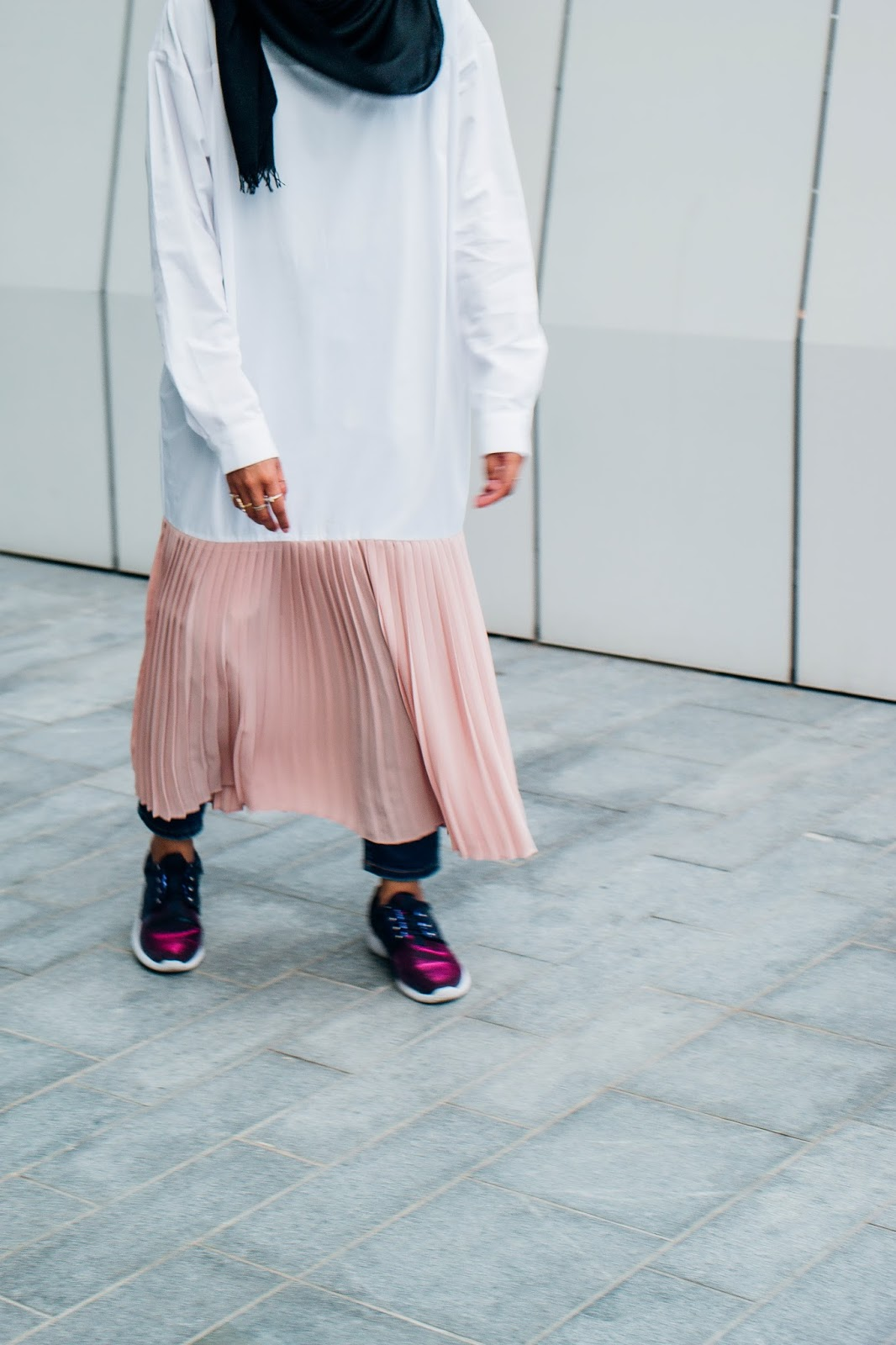 Dress With Millennial Pink Pleats Bottom