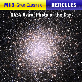 M13 globular star cluster, central area in the Hercules constellation