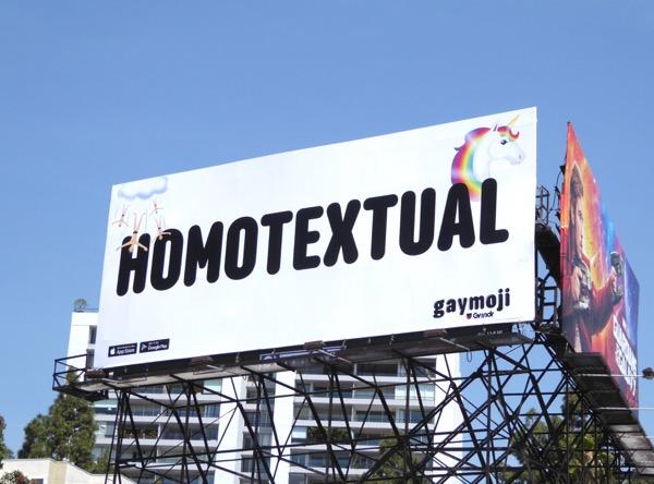 Homotextual Gaymoji Grindr billboard