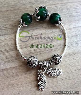 Vòng tay phong thủy đá quý bạc Thái 925