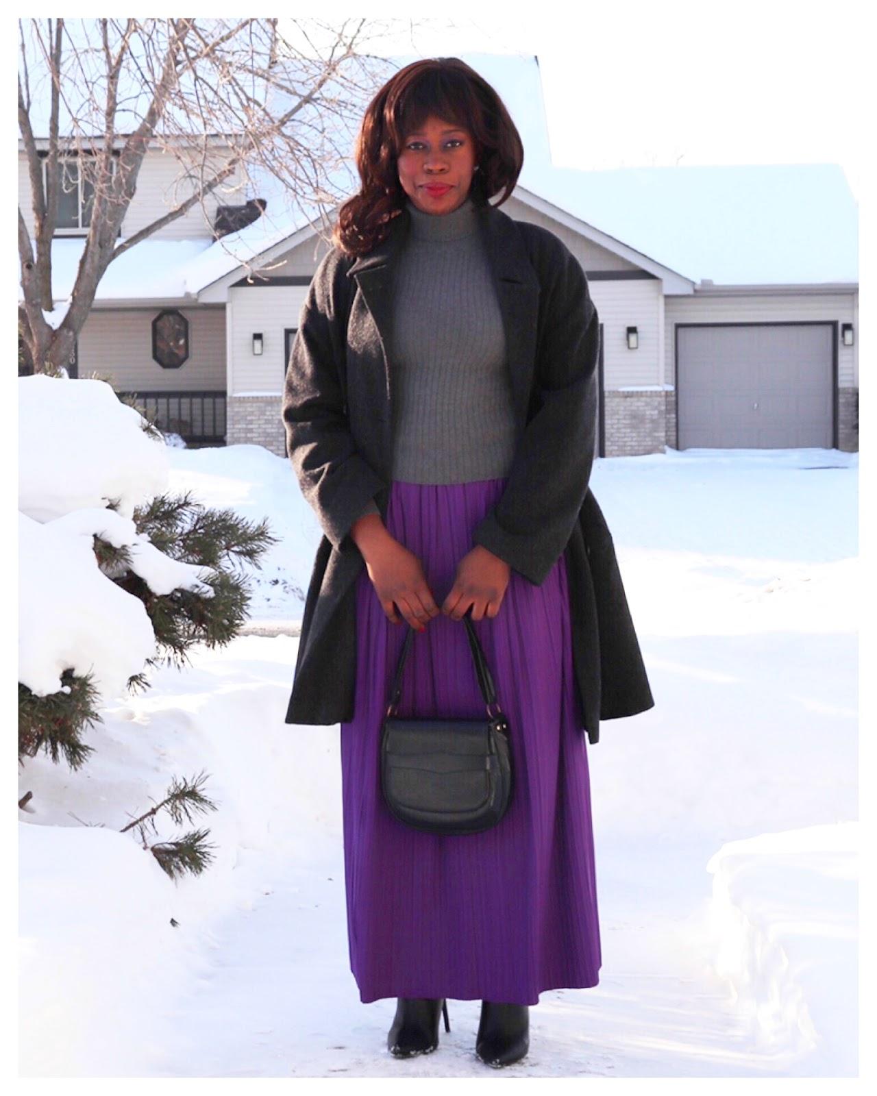 Fashion Beauty Zone: Beauty's Fashion Zone: Grey Sweater + Purple Pleat Skirt